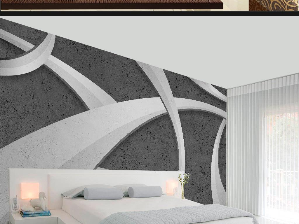 手绘立体抽象线条水泥背景墙装饰画
