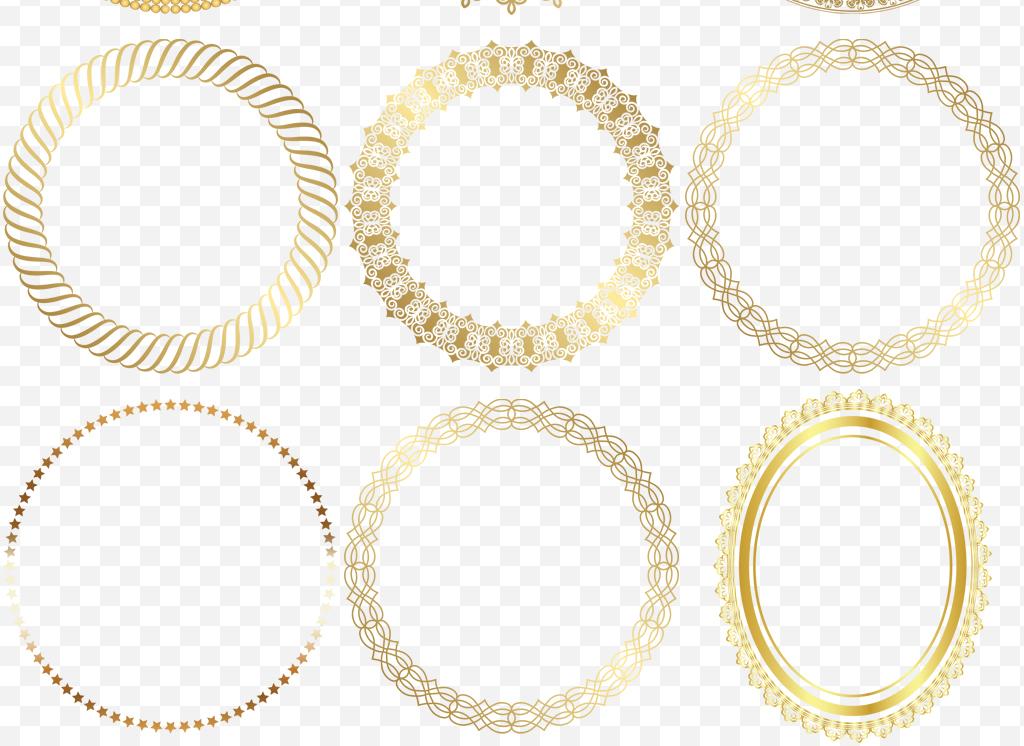 圆形多款金色欧式花边花纹边框png素材图片