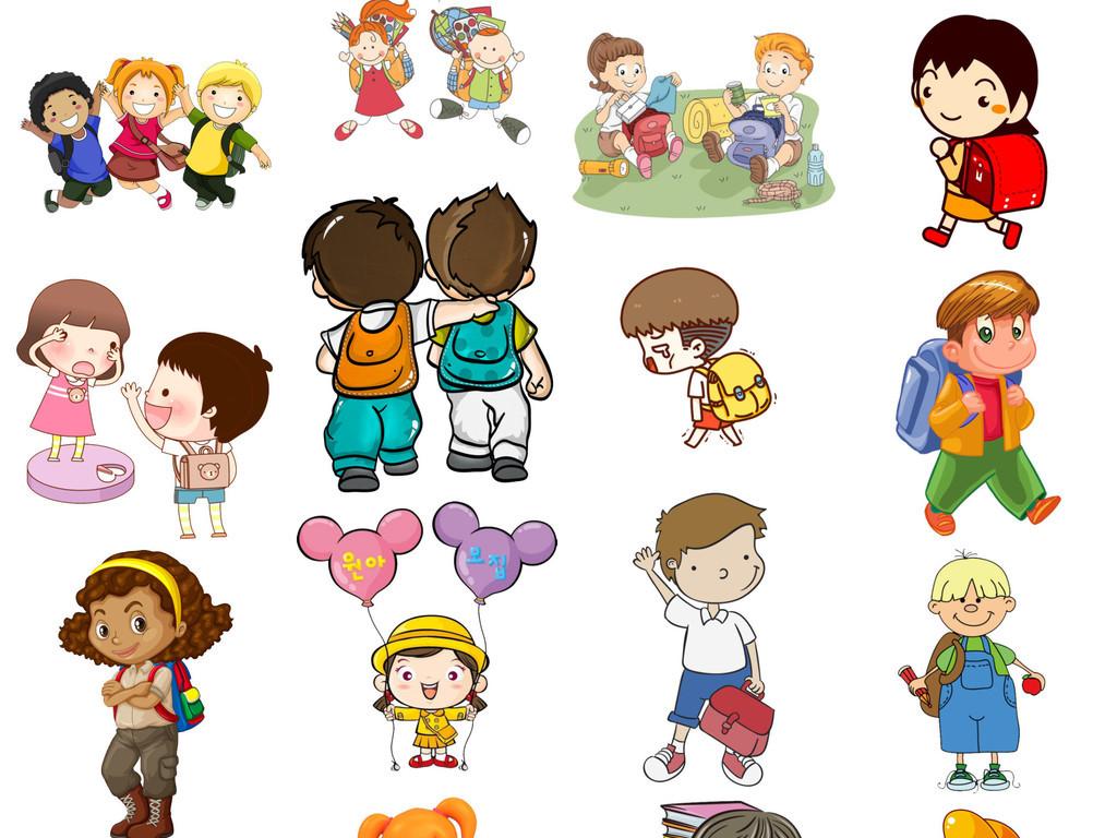 毕业季开学季儿童节背书包的小孩免扣png图片
