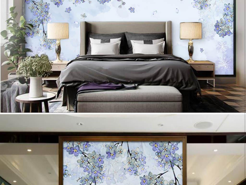 森系小清新手绘水彩紫色花卉蔓藤植物背景墙