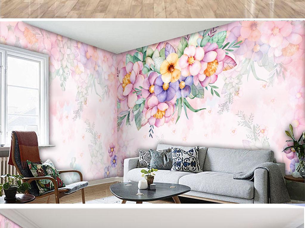 森系小清新手绘水彩粉色花卉植物装饰背景墙