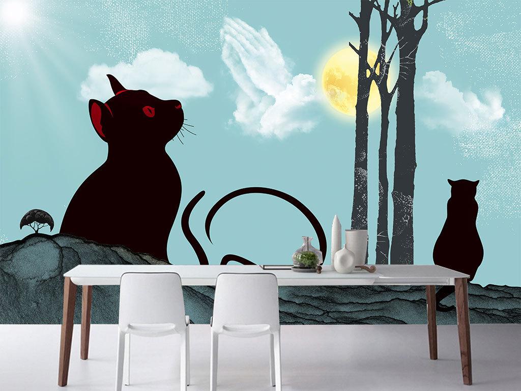 手绘猫简约装饰画
