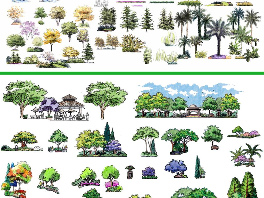 建筑后期园林景观后期手绘建筑小品彩平图专辑(一)