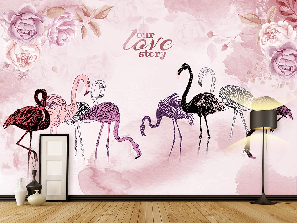 北欧手绘火烈鸟沙发电视背景墙