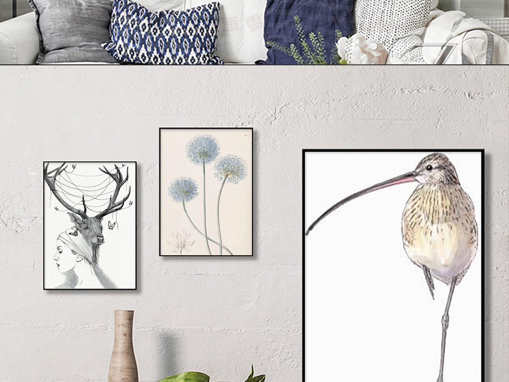 北欧麋鹿创意手绘蒲公英装饰画