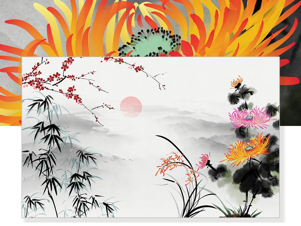水墨禅意手绘gb水墨山水中式客厅中式中式背景中式水墨梅兰竹菊