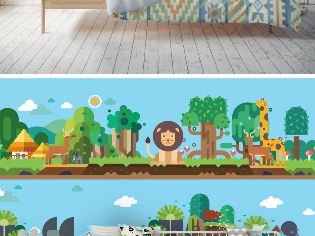 扁平卡通植物乐园动物乐园儿童房背景墙