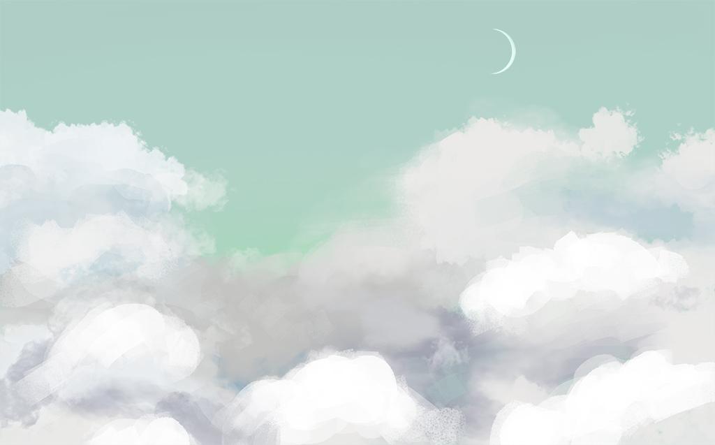 手绘云朵电视背景墙装饰画