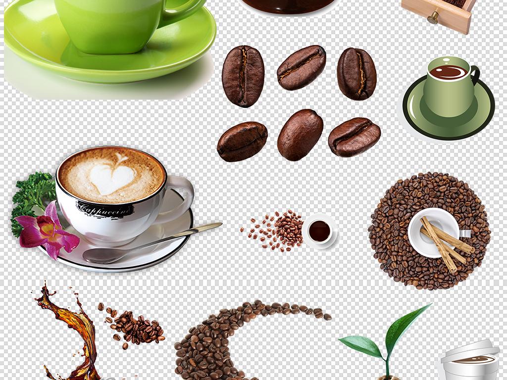 手绘喝咖啡咖啡豆咖啡杯咖啡机png素材