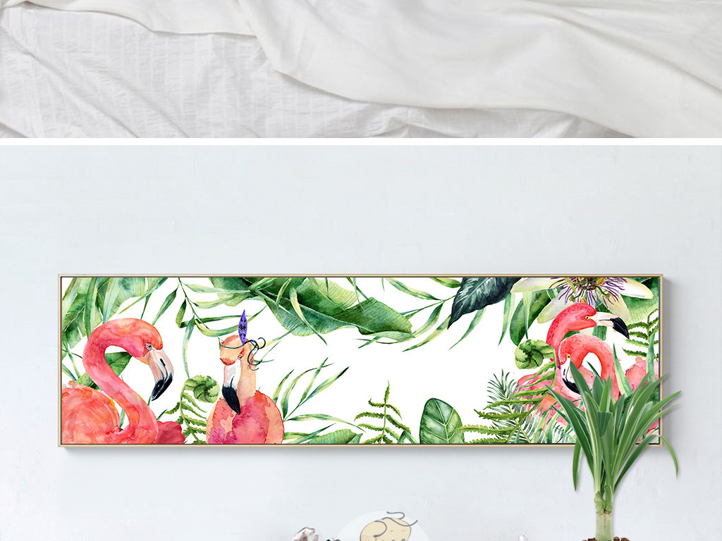 北欧装饰画 植物花卉装饰画 > 北欧小清新植物火烈鸟装饰画卧室横幅无
