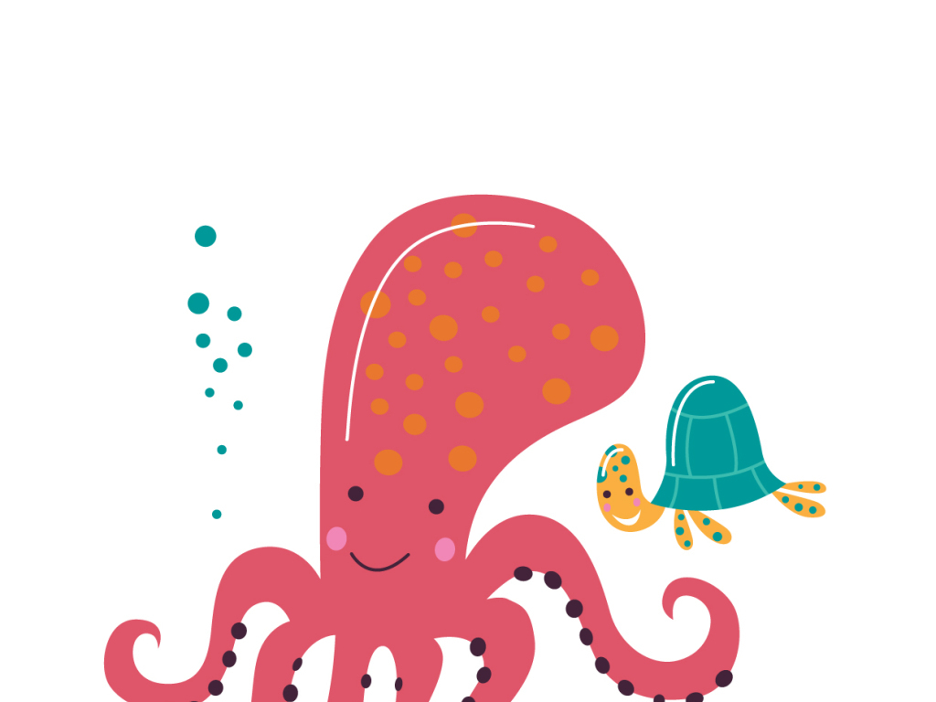 爱卡通海洋生物章鱼海龟矢量素材