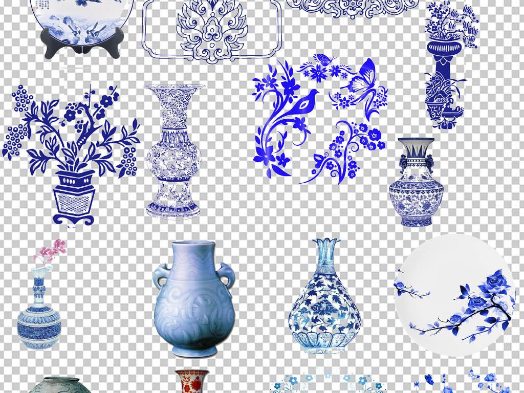 中国风传统青花瓷花纹png免扣素材