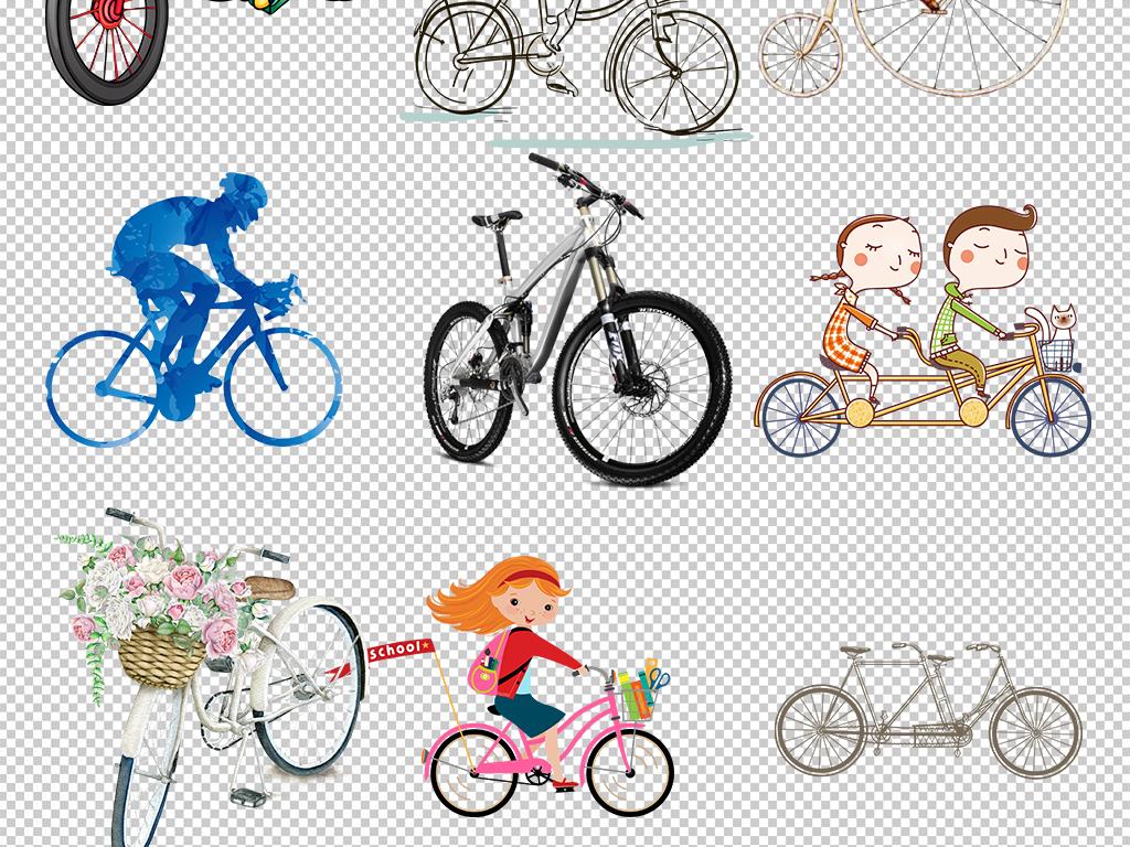 单车山地自行车手绘自行车单素材自行车卡通素材图片素材卡通自行车