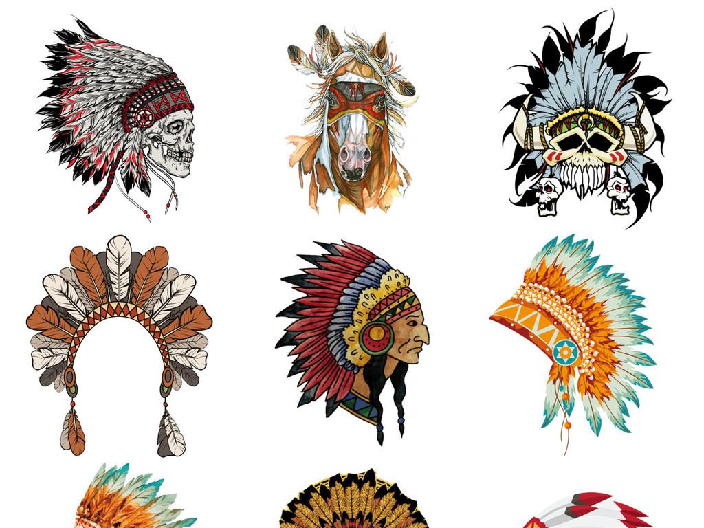 绘卡通免扣彩色印第安人头饰png素材