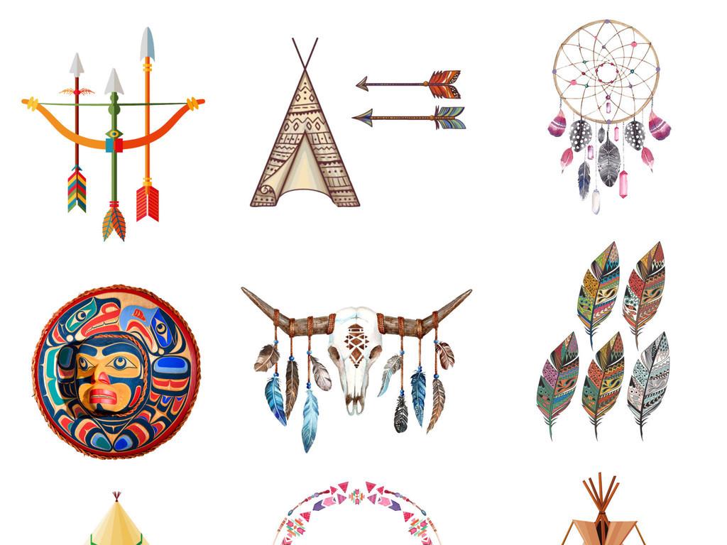 手绘卡通免扣彩色印第安人头饰png素材