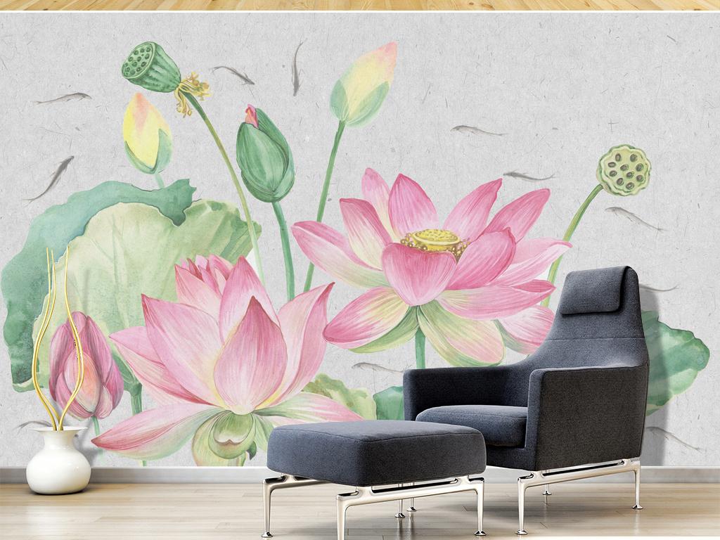 淡雅新中式荷花手绘禅意背景墙
