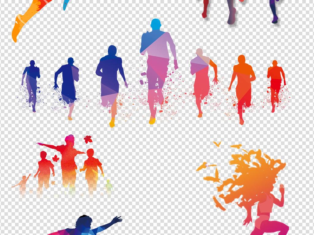 运动奔跑人物剪影png透明背景免扣素材