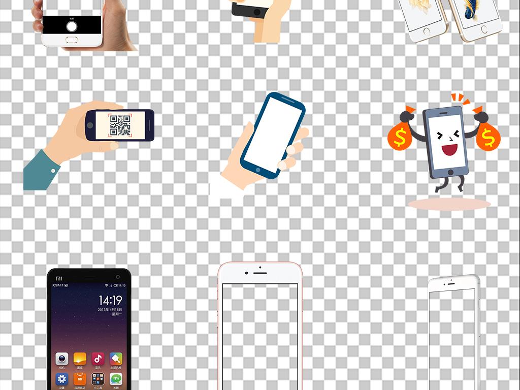 设计元素 背景素材 商务背景 > 多角度手机框手拿手机模型展示样机