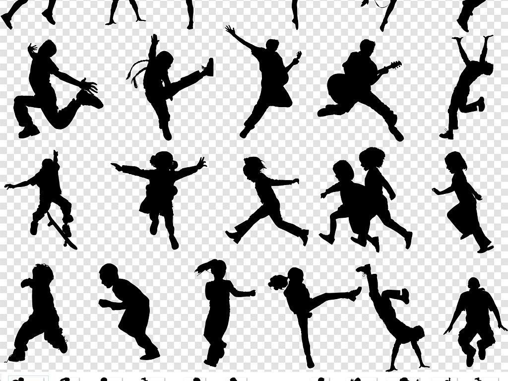 动感运动舞蹈人物剪影png素材