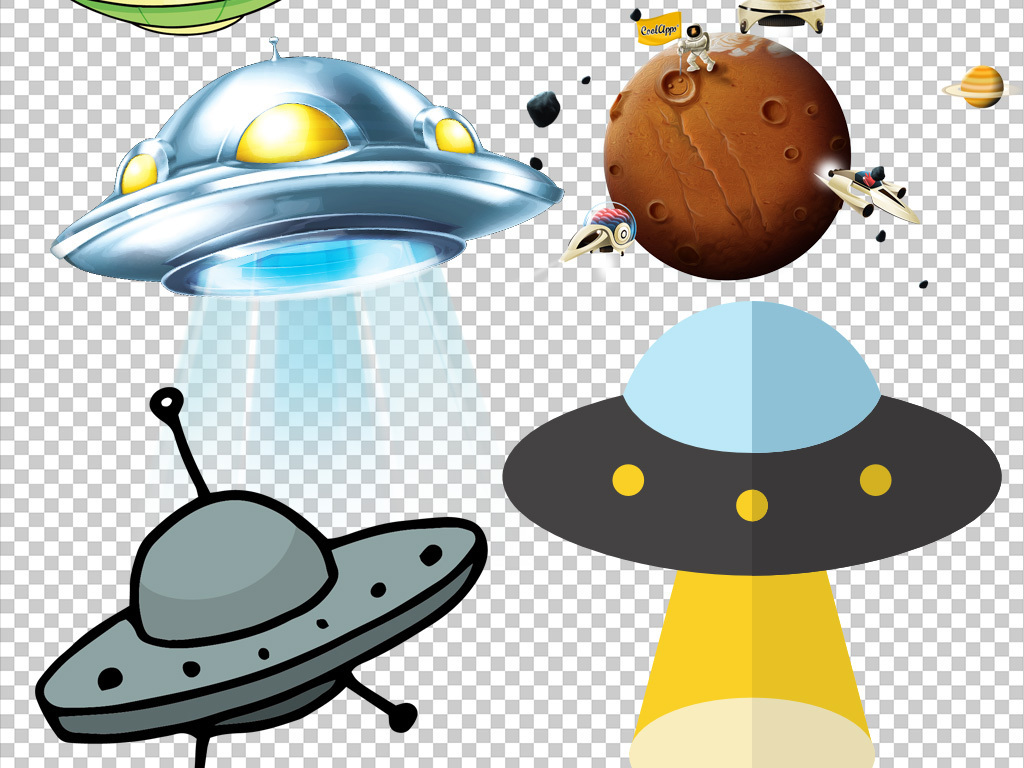 通手绘外星飞船UFO飞碟科技PNG素材图片下载png素材 其他