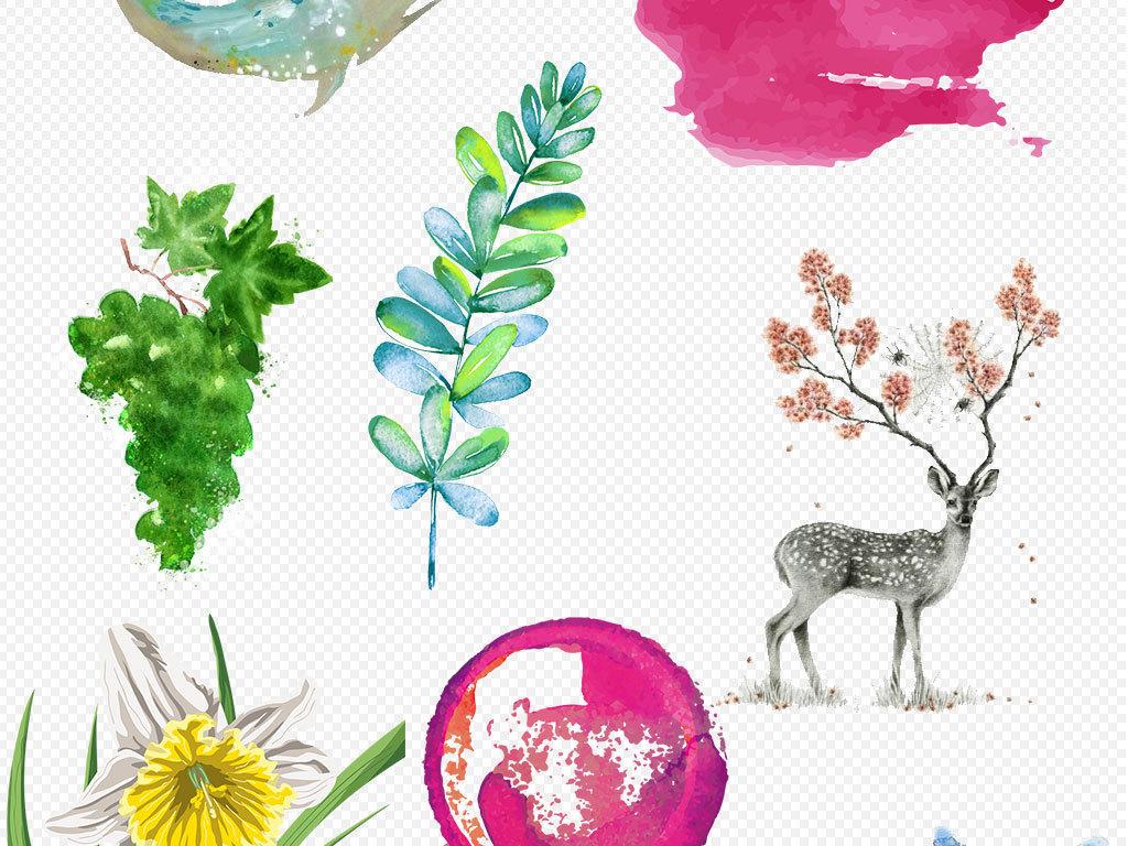 中国风古风风景画动物png背景素材