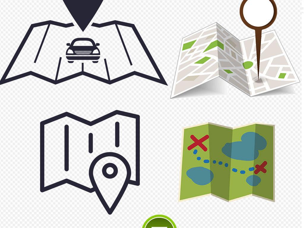 卡通地图危险定位图标海报素材