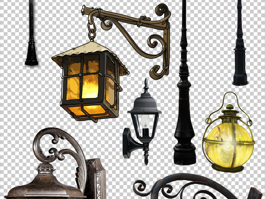手绘建筑路灯城市元素街道元素复古味道街灯长椅下雪公园灯饰卡通街灯
