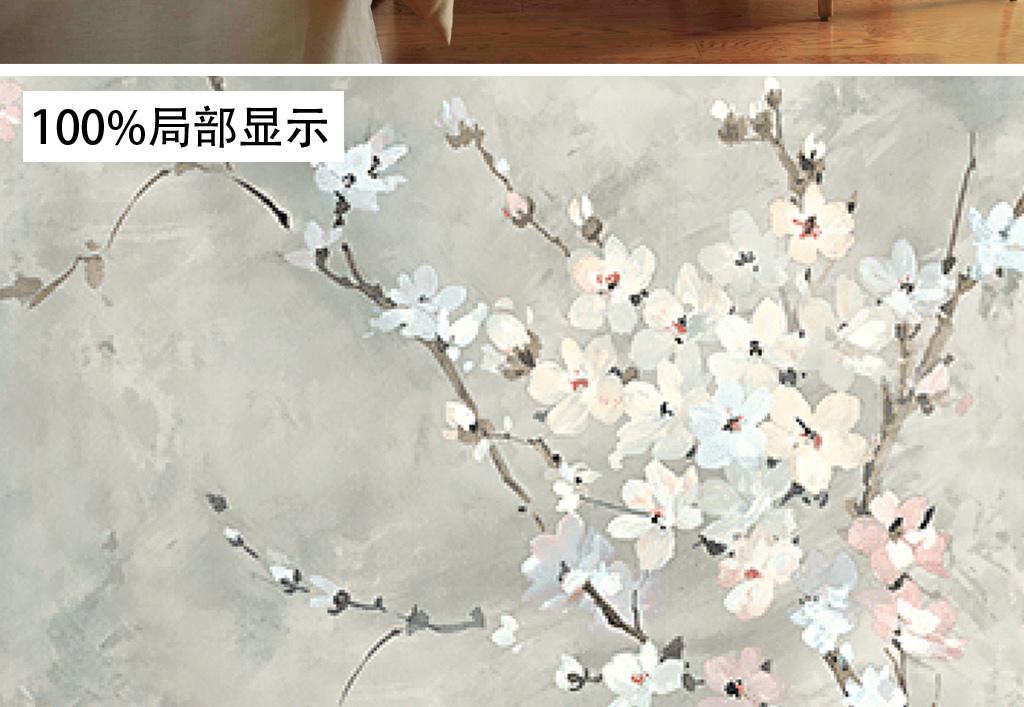 欧式手绘复古梅花花鸟花纹墙纸壁画背景墙