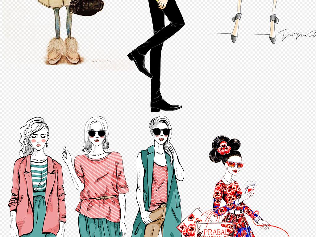 卡通手绘美女模特服装设计图片下载png素材-其他-我