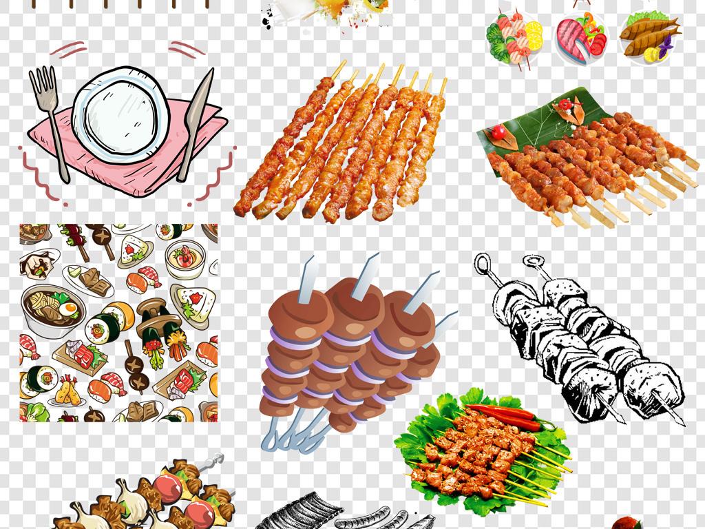 烧烤烤肠手绘撸串                                          烤肉