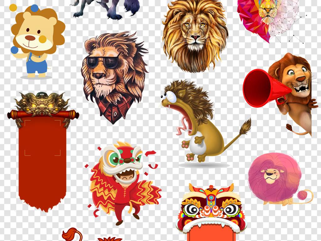 狮子卡通简笔画有颜色