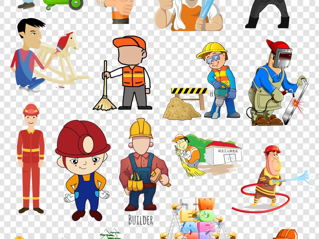 卡通手绘建筑环卫工人png海报素材