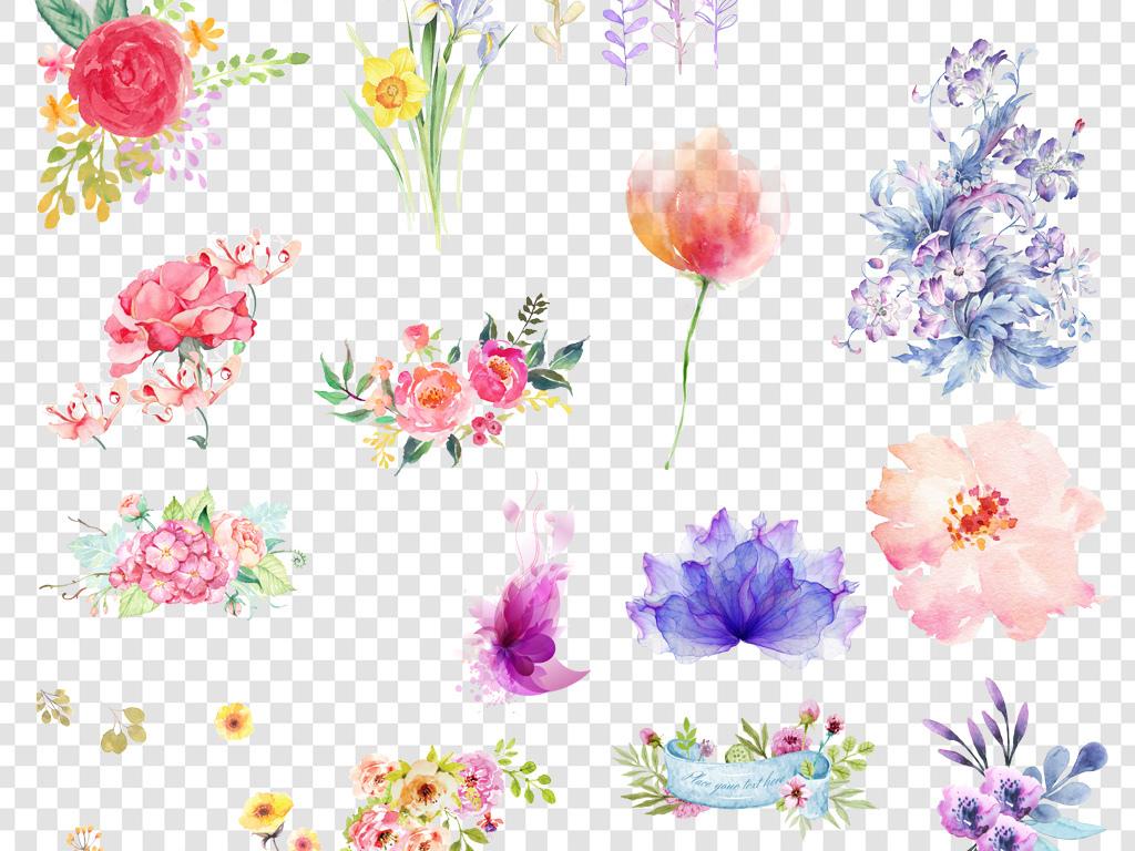 手绘水彩花卉png海报素材