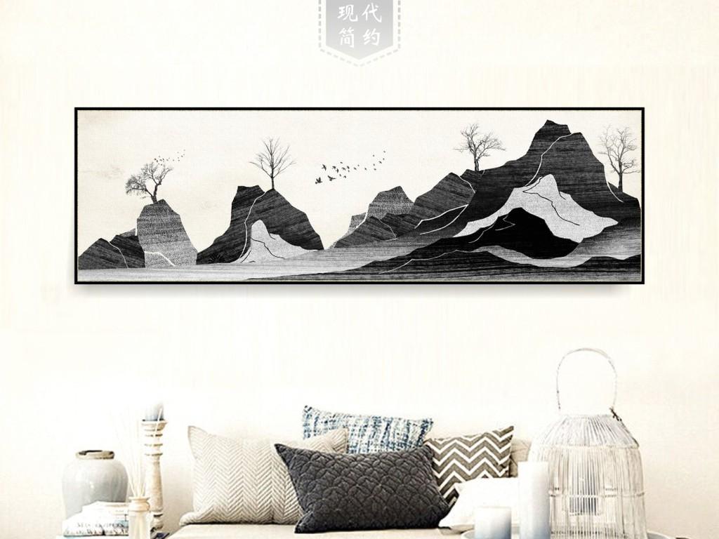 手绘水墨禅意高山连山意境装饰无框画