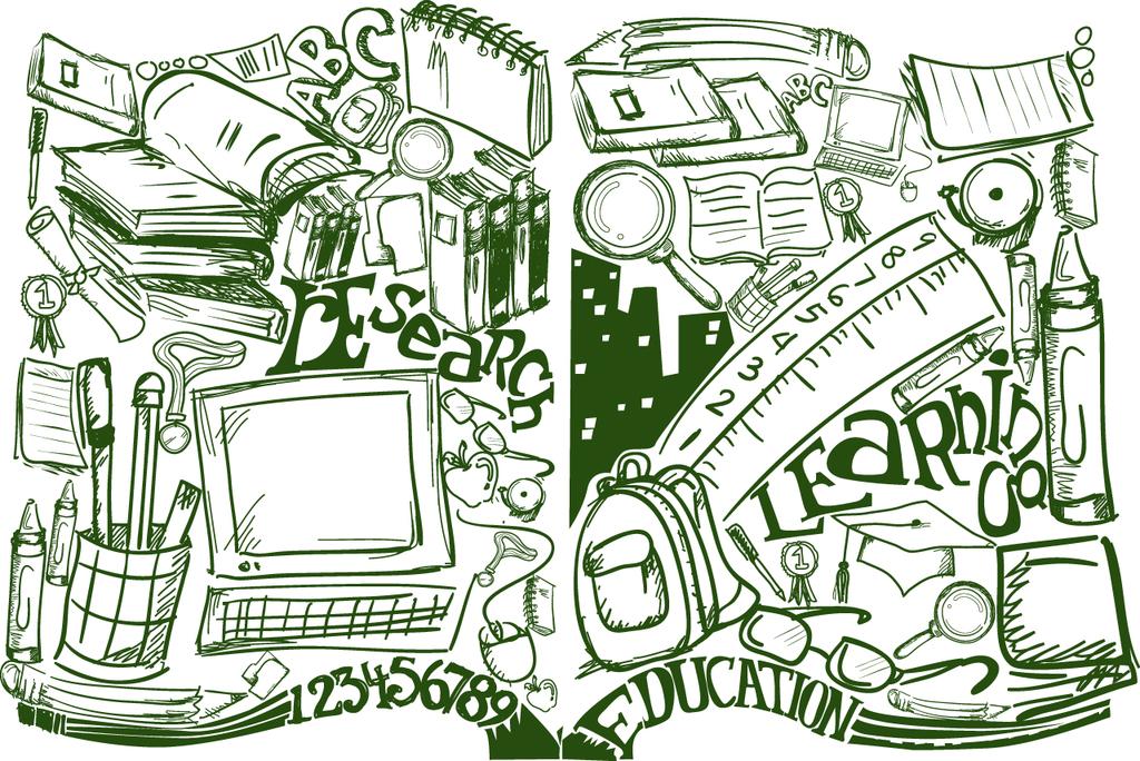 设计元素 背景素材 商务背景 > 手绘办公用品插画矢量设计