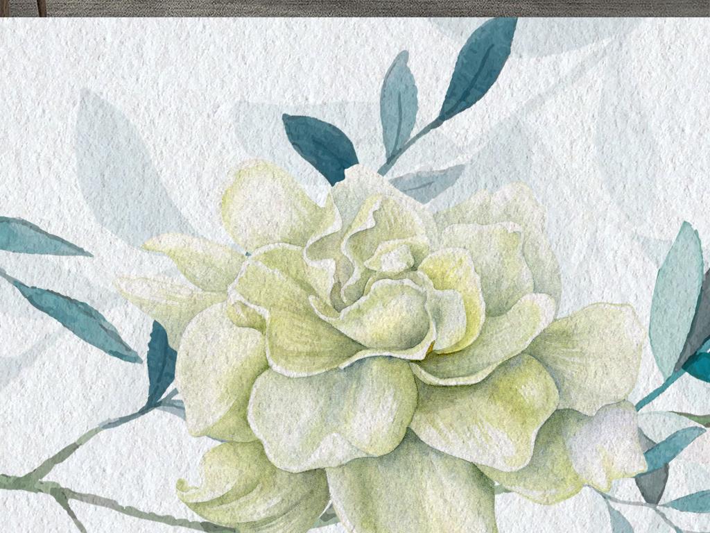 小清新手绘水彩藤蔓叶子北欧简约电视背景墙