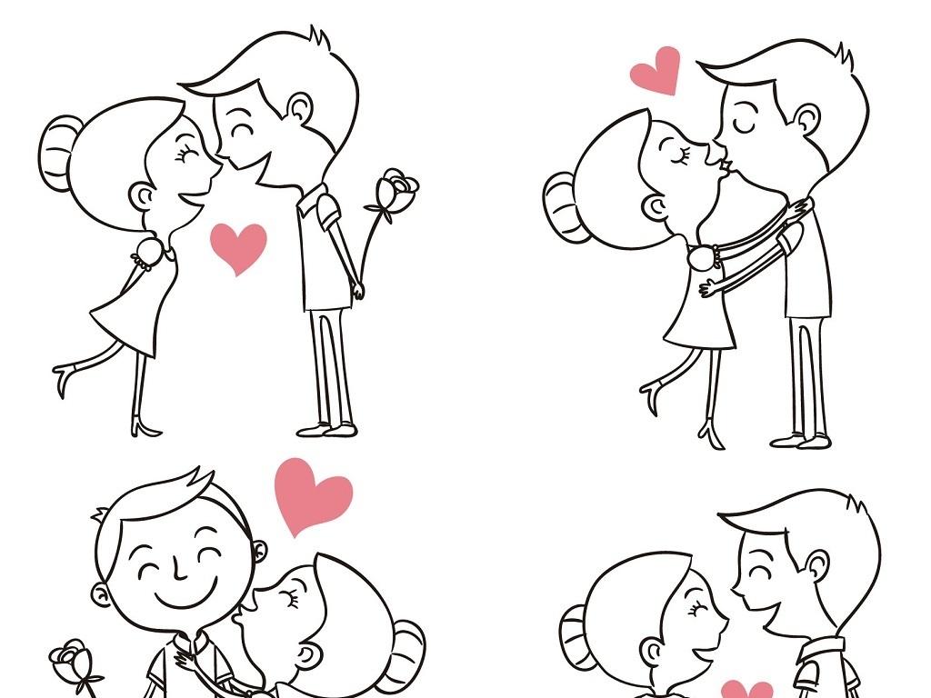 线描卡通人物浪漫情侣幸福伴侣矢量素材