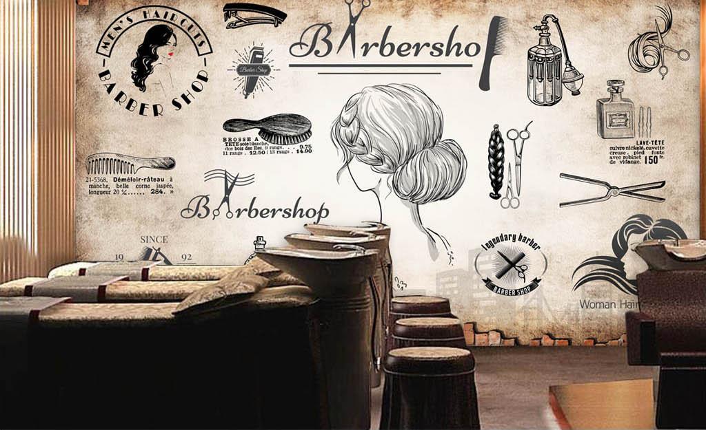 欧美复古砖墙理发店背景墙