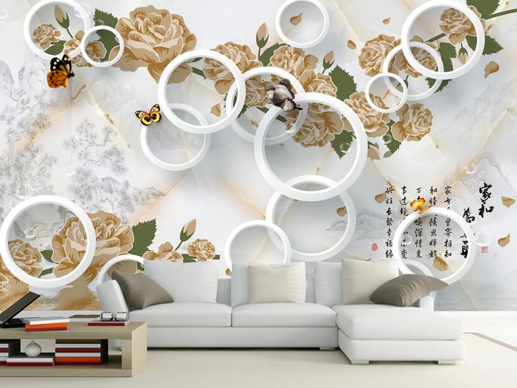 家和万事兴3D大理石玫瑰花潮流背景墙