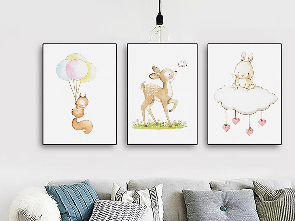 现代简约小清新北欧水彩手绘可爱动物装饰画