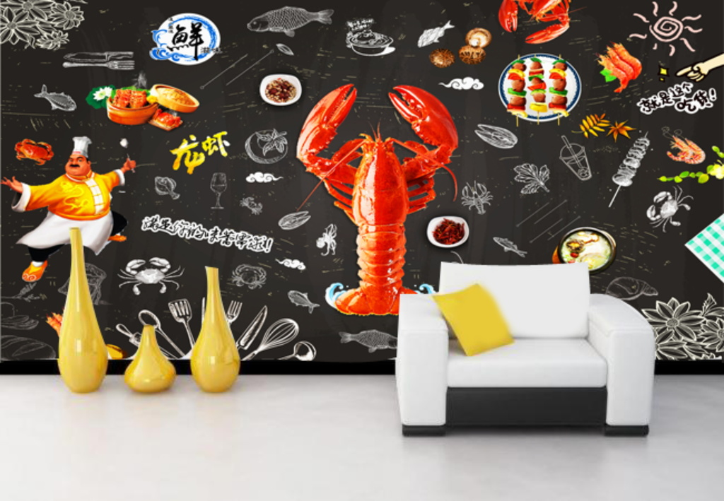 手绘卡通海鲜黑板餐厅餐吧背景墙装饰画