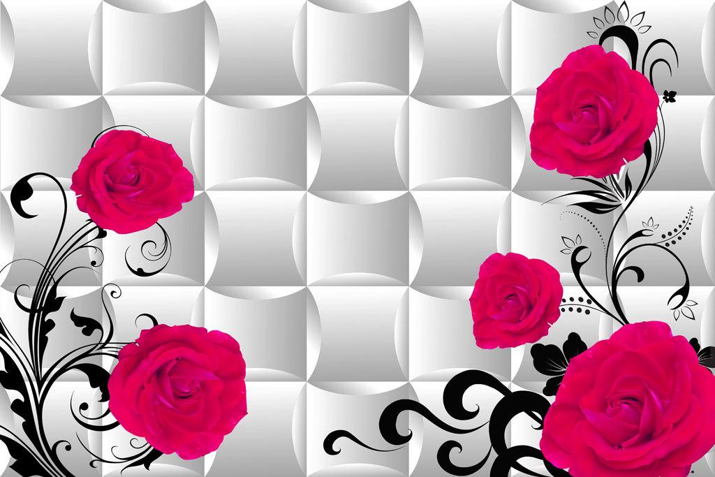 现代唯美简约欧式花纹3d玫瑰花藤背景墙