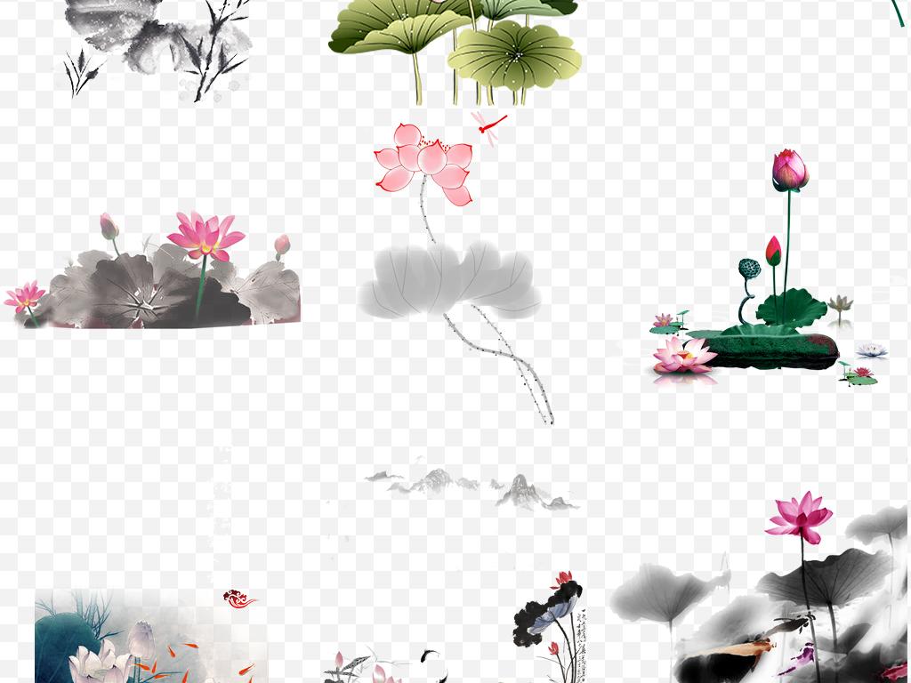 中国古风唯美大气水墨荷花荷叶设计元素