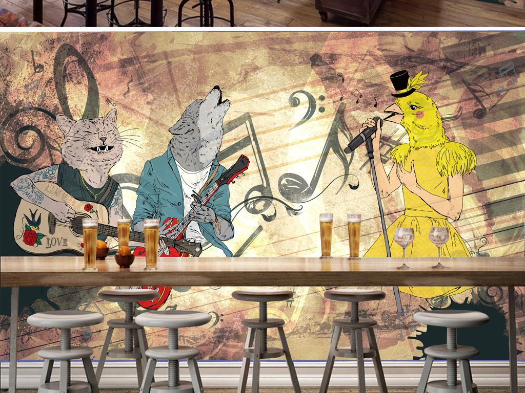 手绘电吉他夜场ktv背景演唱会酒吧背景背景音乐演唱会背景复古底纹