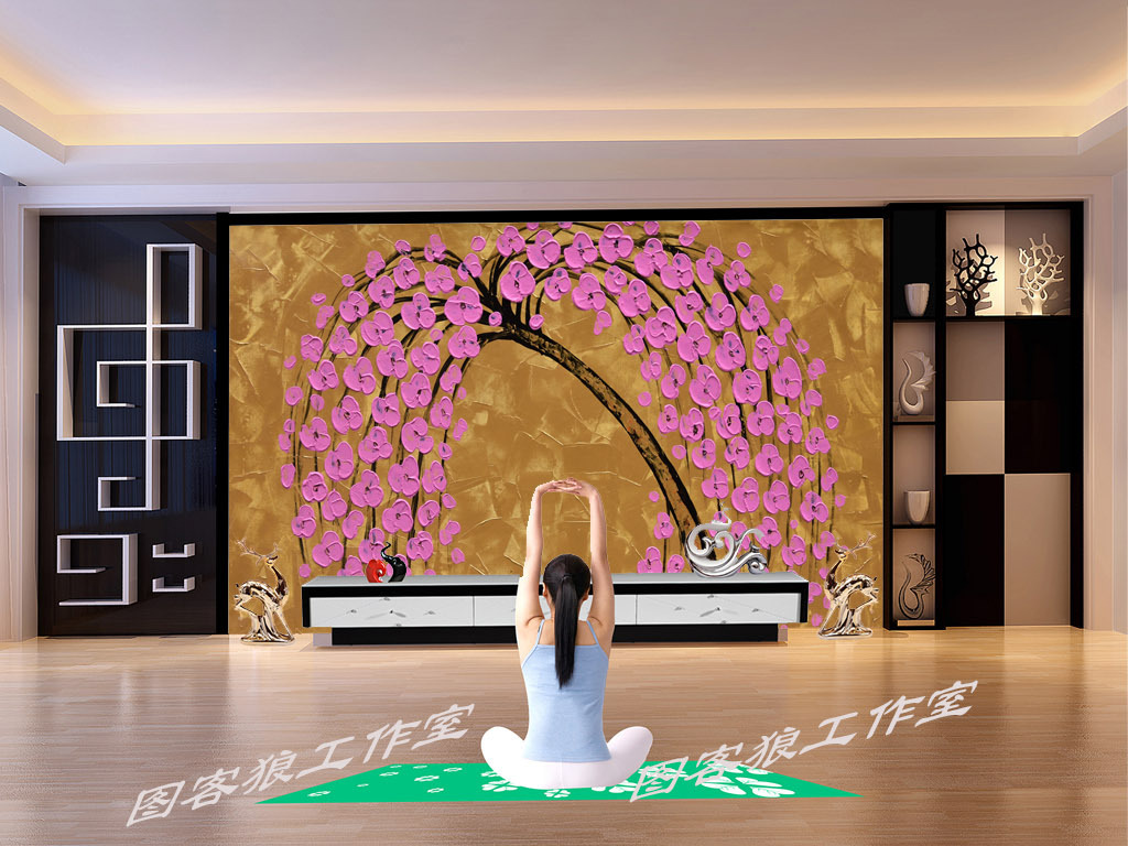 高清手绘粉色发财树油画背景墙