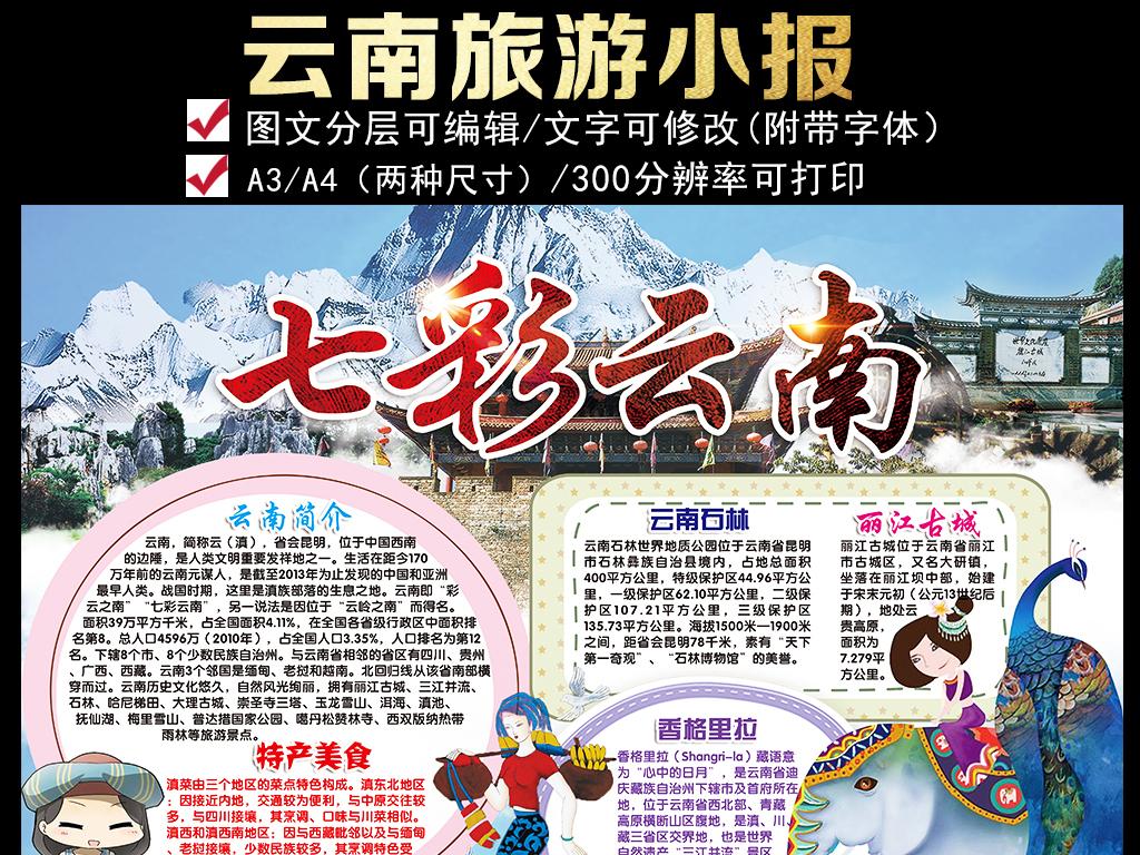 云南小报家乡城市地理假期旅游手抄小报素材图片下载psd素材 其他