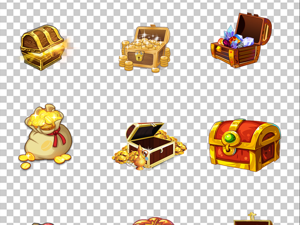 卡通游戏宝箱盒子网游宝藏宝箱宝盒金币素材图片