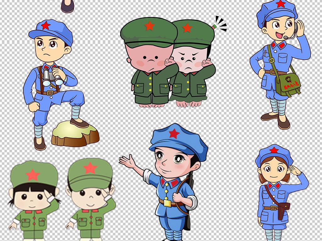 卡通红军军人小兵人物png素材