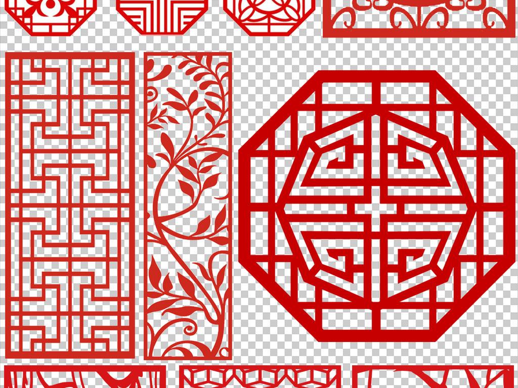 红色中式窗花窗格图案png素材图片