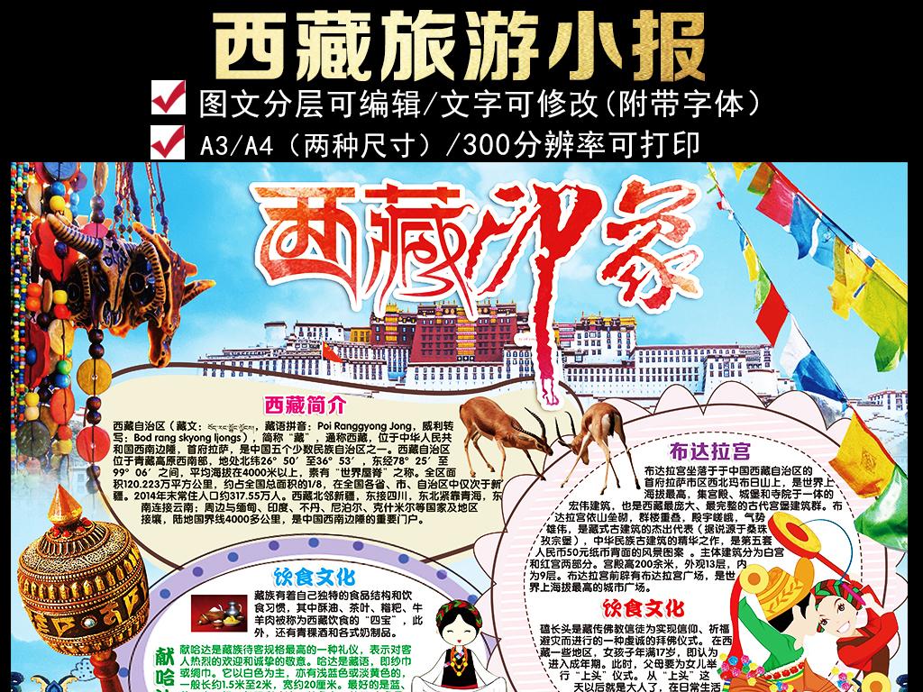 圣地西藏小报城市家乡旅游地理手抄小报素材